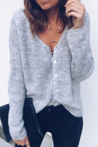 Pull-Gilet Justine gris clair
