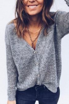 Grey Pullover-Cardigan Solène