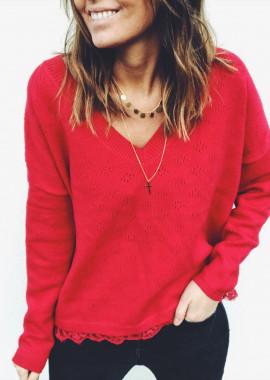 Pull Amandine rouge
