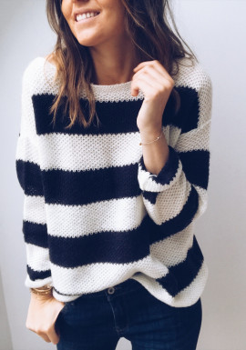Blue and ecru Pullover Lison