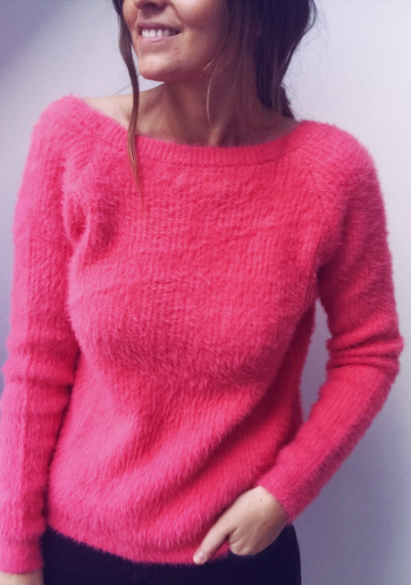 Gilet-pull polo rose pastel