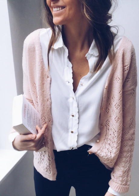 Pull-gilet Solène rose pâle