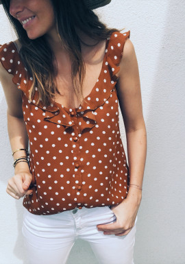 Brick colour spotted Top Rossy