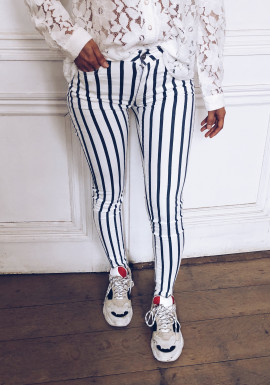 Blue and white lines Marlow jeans