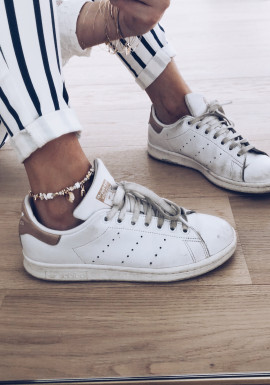 White and gold Stone anklet