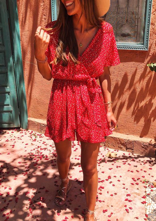 Combinaison Tina rouge à fleurs
