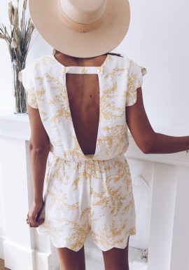 Evan white jumpsuit with yellow pattern