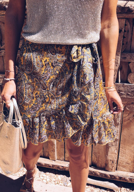 Mustard Julia with patterned skirt