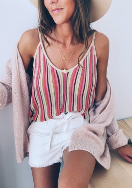Pink and beige Pola top