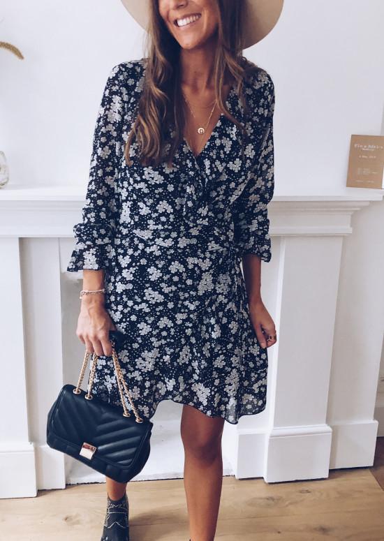 Black Malovia dress with white flowers