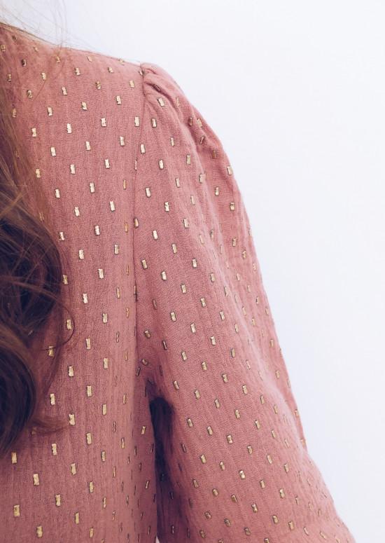 Robe Oriane rose foncé et doré