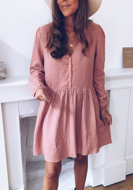 Oriane dress dark pink and gold