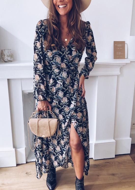 Garance long dress with flowers