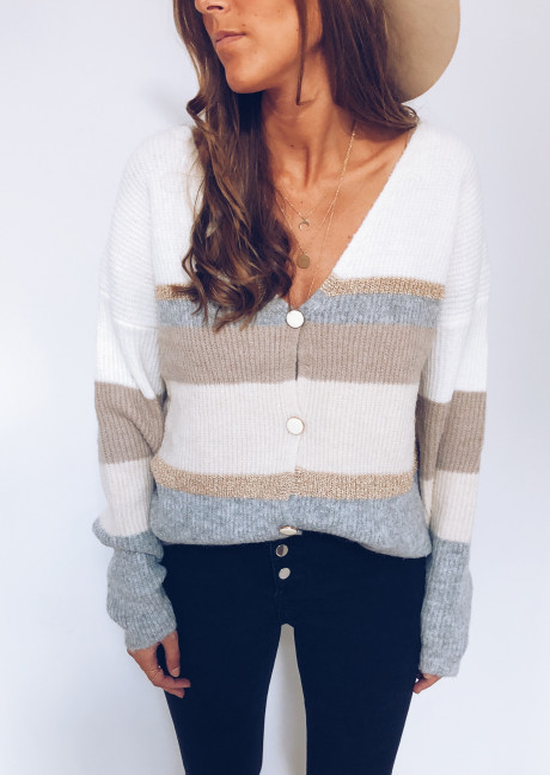 Gilet Jehanne écru, beige , gris et doré