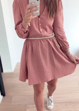 Oriane dress dark pink and gold