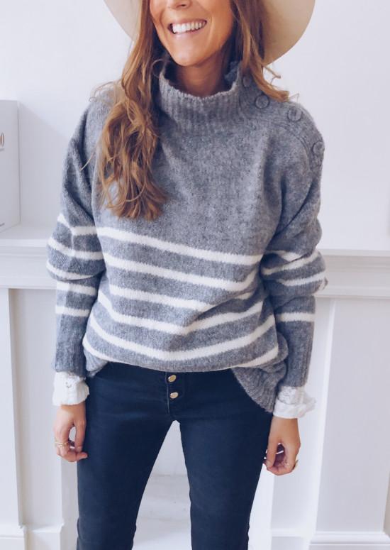 Grey Merida sweater with lines