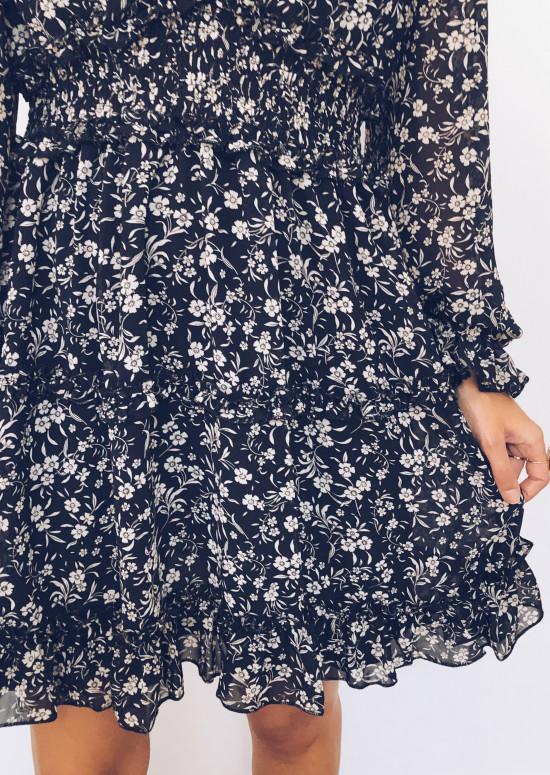 Robe Erina noire à fleurs