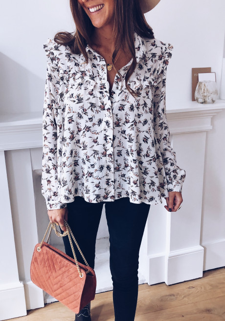 White Virginie shirt with flowers