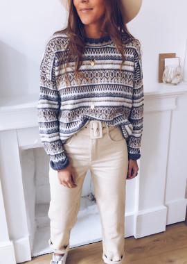 Marlon grey patterned sweater