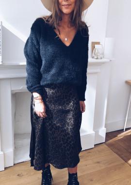 Charline skirt effect silk khaki leopard