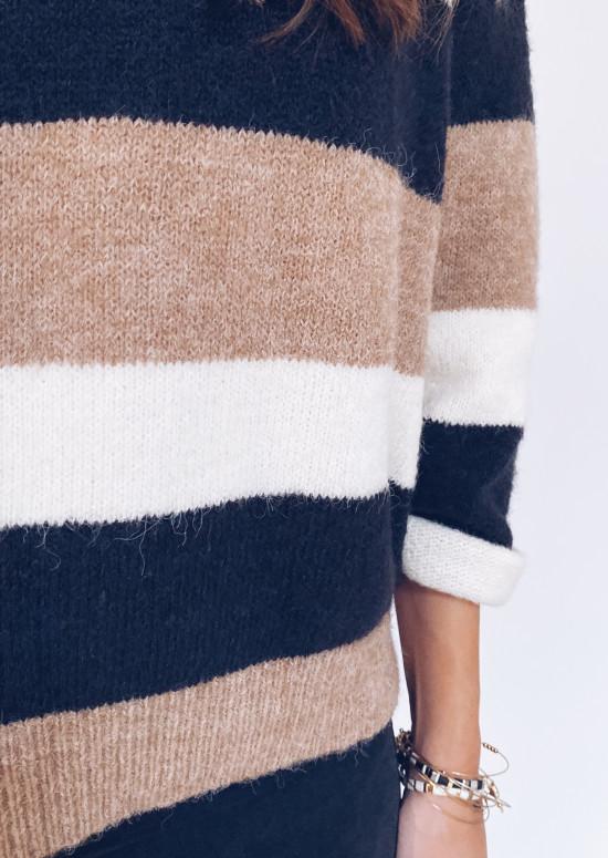 Elyne sweater black camel and ecru