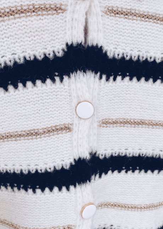 Cardigan Vali ecru patterned