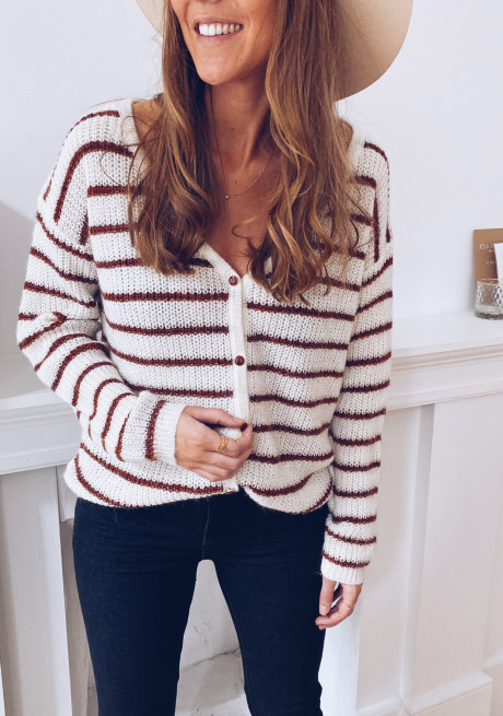 Laurence off-white sweater with lines