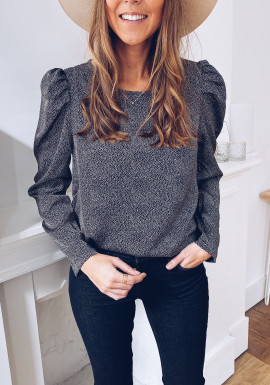 Black Lio blouse with polka dots