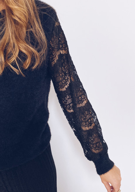 Black Janelle sweater with lace