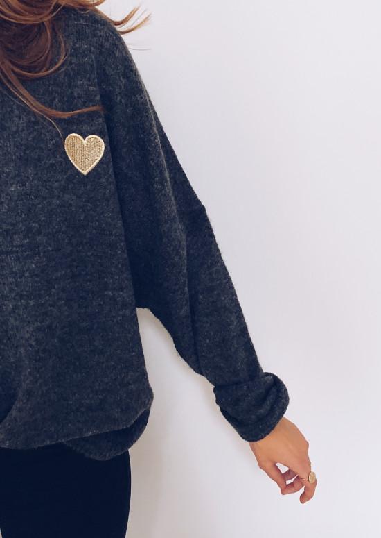 Dark gray Olivia sweater with golden heart