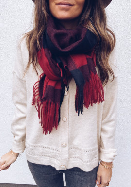 Red Cirillo checked scarf
