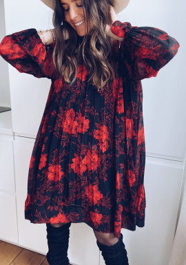 Luna red dress with flowers