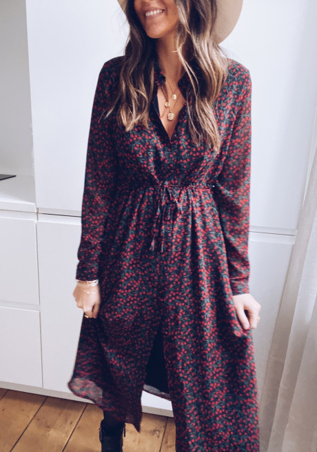 Red Marla Dress with Patterns