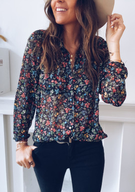 Agnes shirt with black flowers