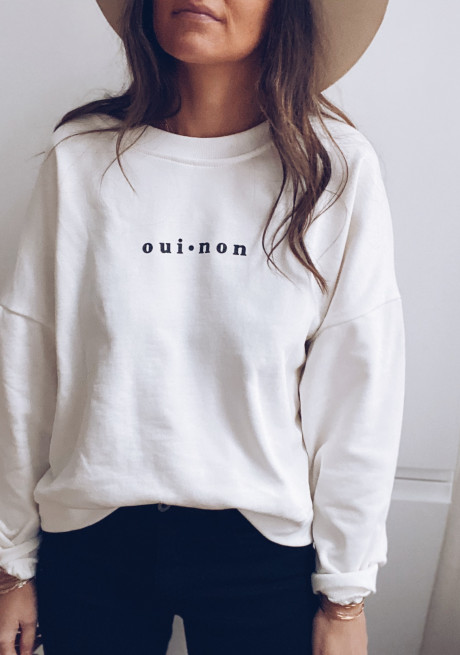 White Yes Sweater