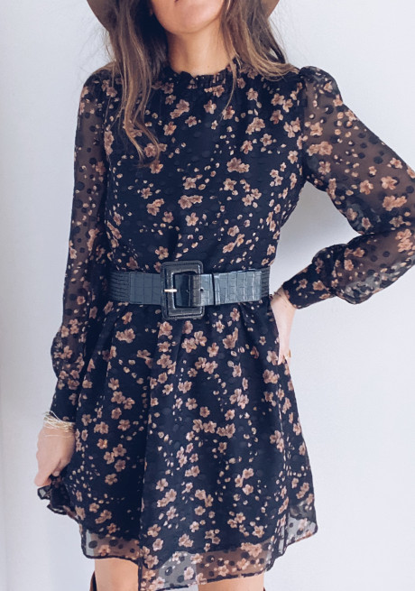 Aimy black dress with flowers