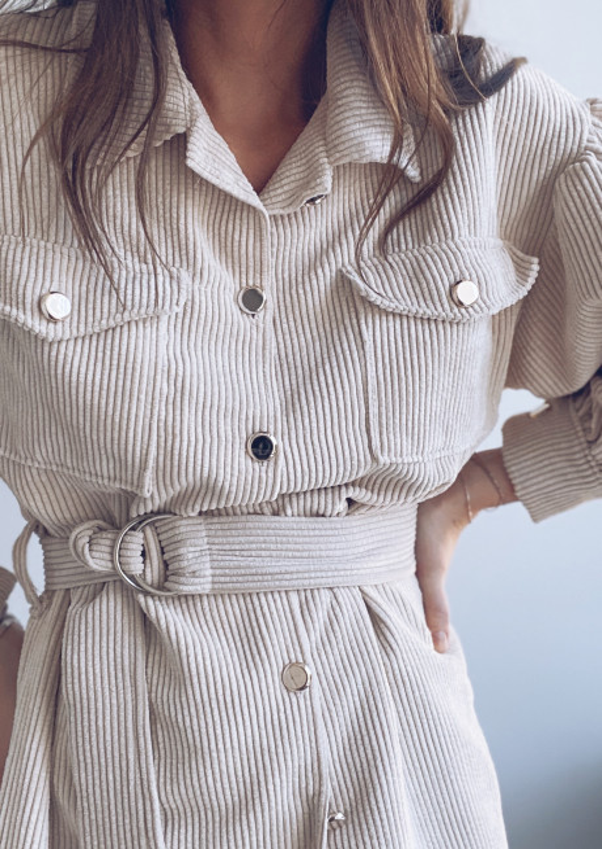 Beige Tahis velvet tunic