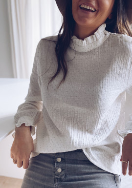 White and gold Effie blouse