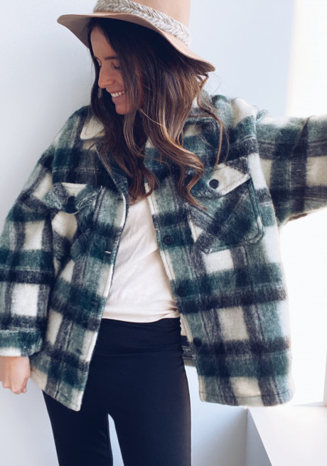 Green Dido check coat