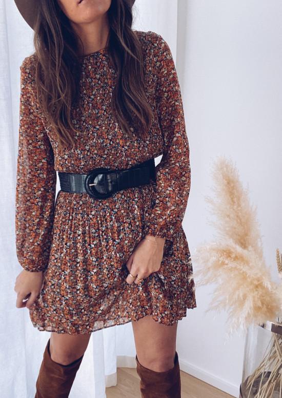 Helena dress with orange flowers