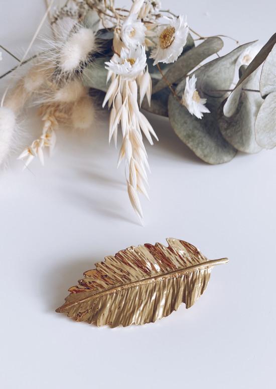 Barrette cheveux Feuille dorée
