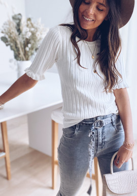 White Abby short sleeve sweater