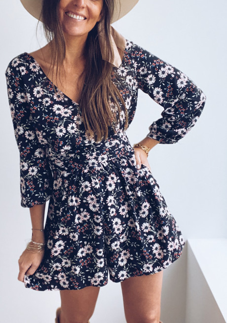 Black Moon playsuit with flowers