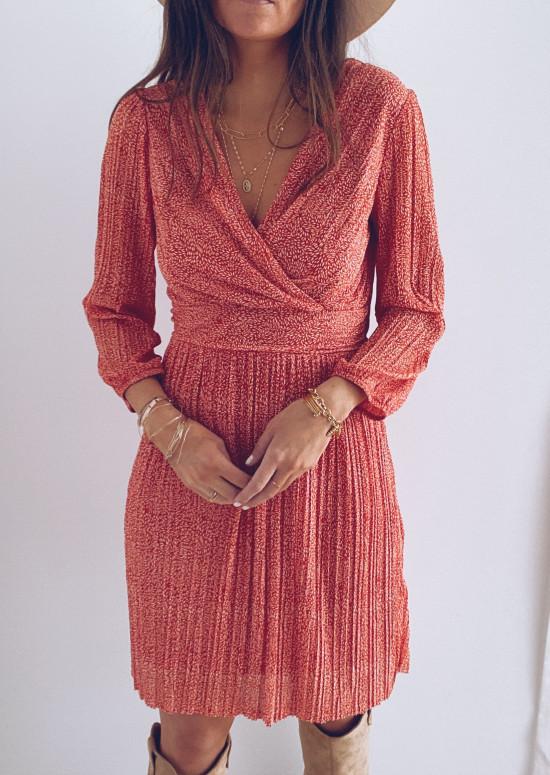 Red Charlene patterned dress