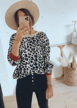 Leopard Pullover Bianca