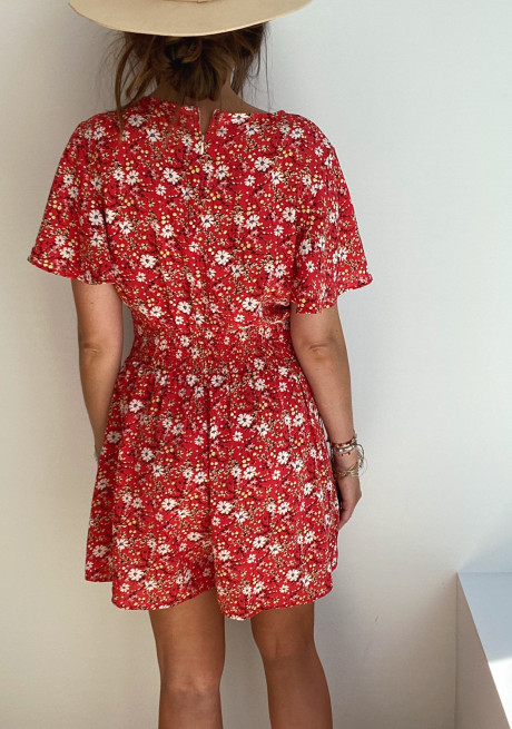 Red Lisea jumpsuit with flowers