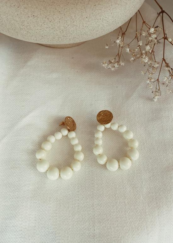 Boucles d'oreilles Simo écru
