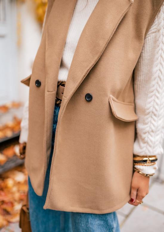 Camel Calvin sleeveless jacket