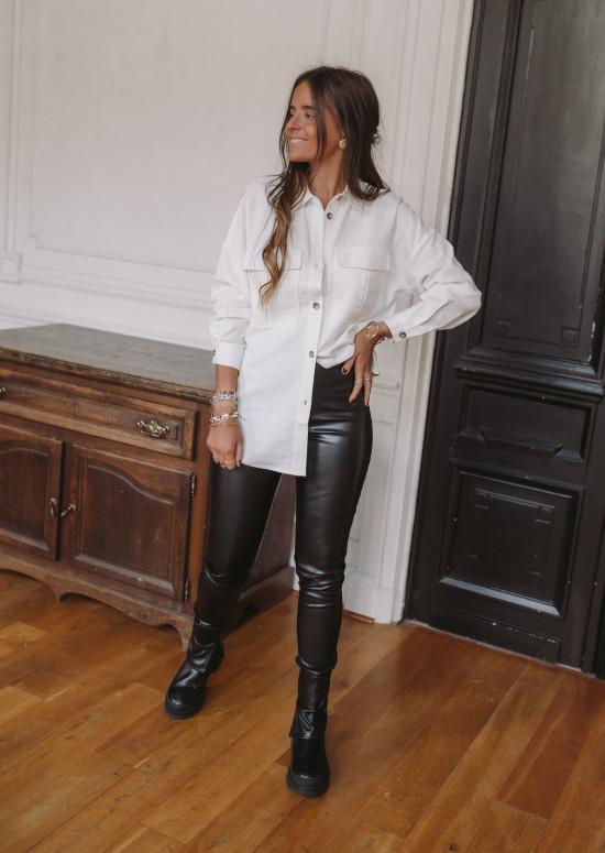 Pantalon Macy simili cuir noir