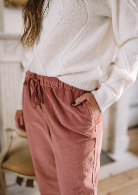 Pantalon Capri rose terracotta